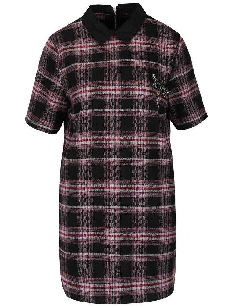 Vínovo-čierne kockované šaty s golierikom a brošňou ONLY Dandy