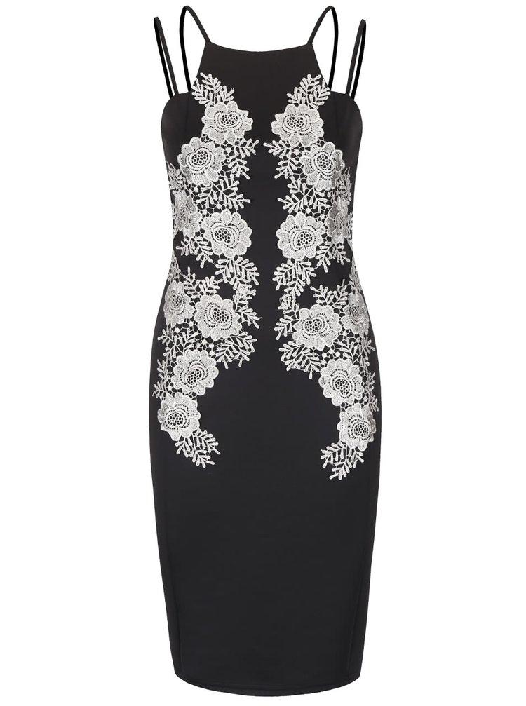 Rochie neagră AX Paris cu aplicații florale din dantelă