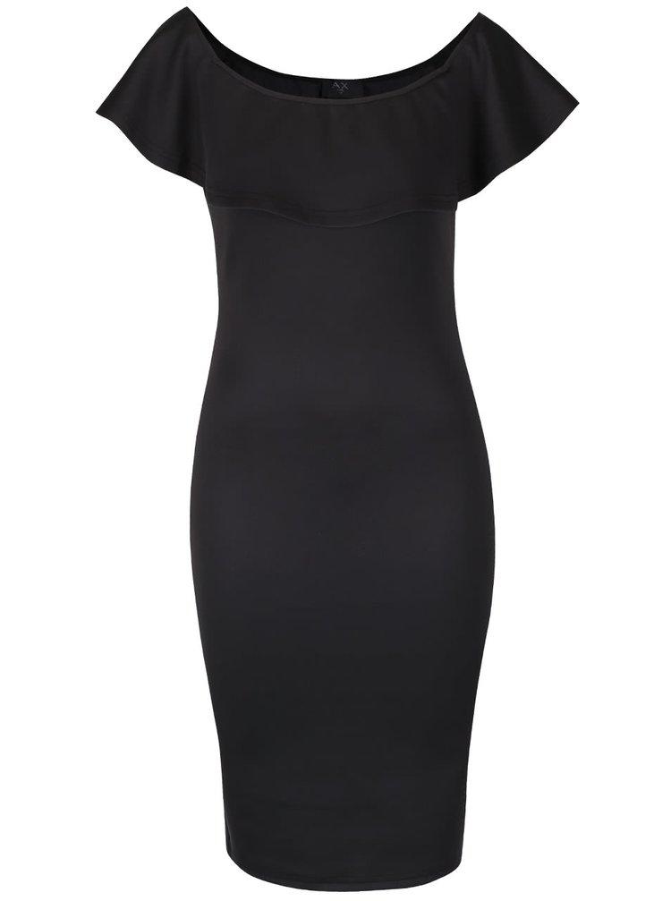 Čierne puzdrové šaty s odhalenými ramenami a volánom AX Paris