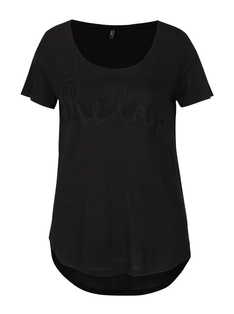 Tricou negru cu broderie ONLY Helle