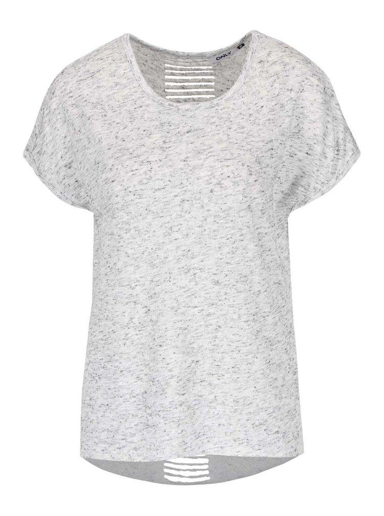 Světle šedé žíhané tričko s průstřihy na zádech ONLY Kikki