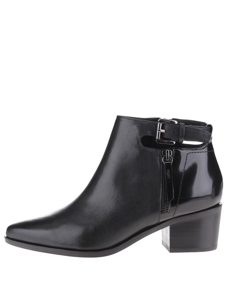 Černé kožené kotníkové boty na podpatku s detaily Geox Lia