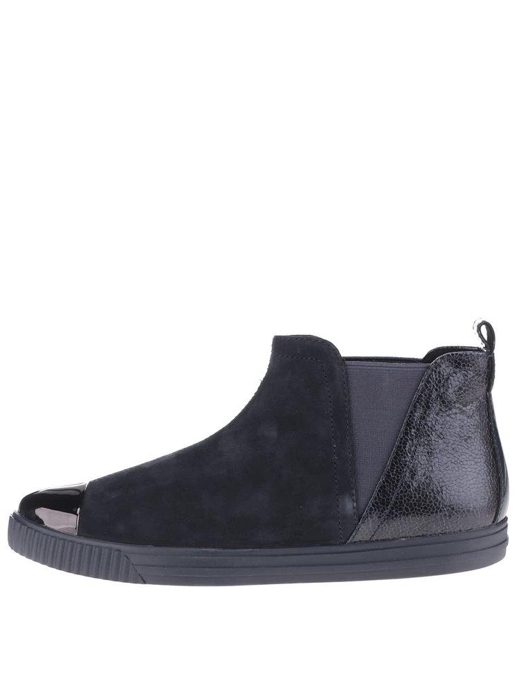 Tmavomodré dámske semišové členkové topánky Geox Amalthia