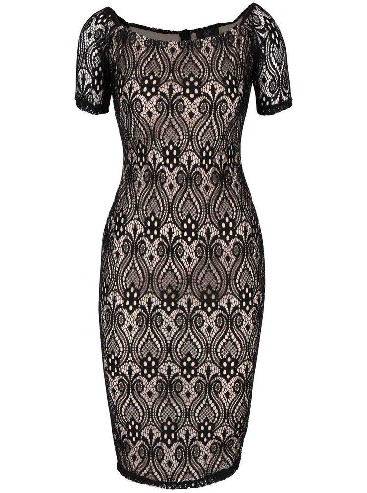 Černo-béžové krajkové šaty AX Paris