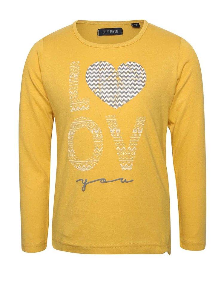 Bluză galbenă cu imprimeu Blue Seven de fete