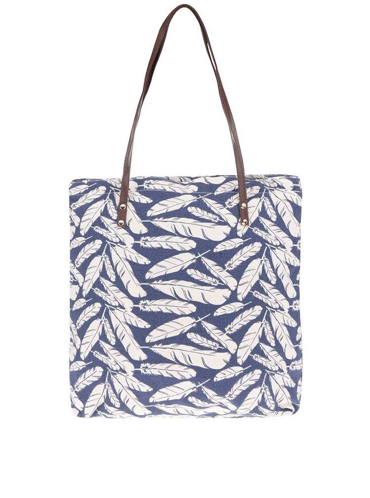 Krémovo-modrá taška s potiskem pírek Haily's Luna