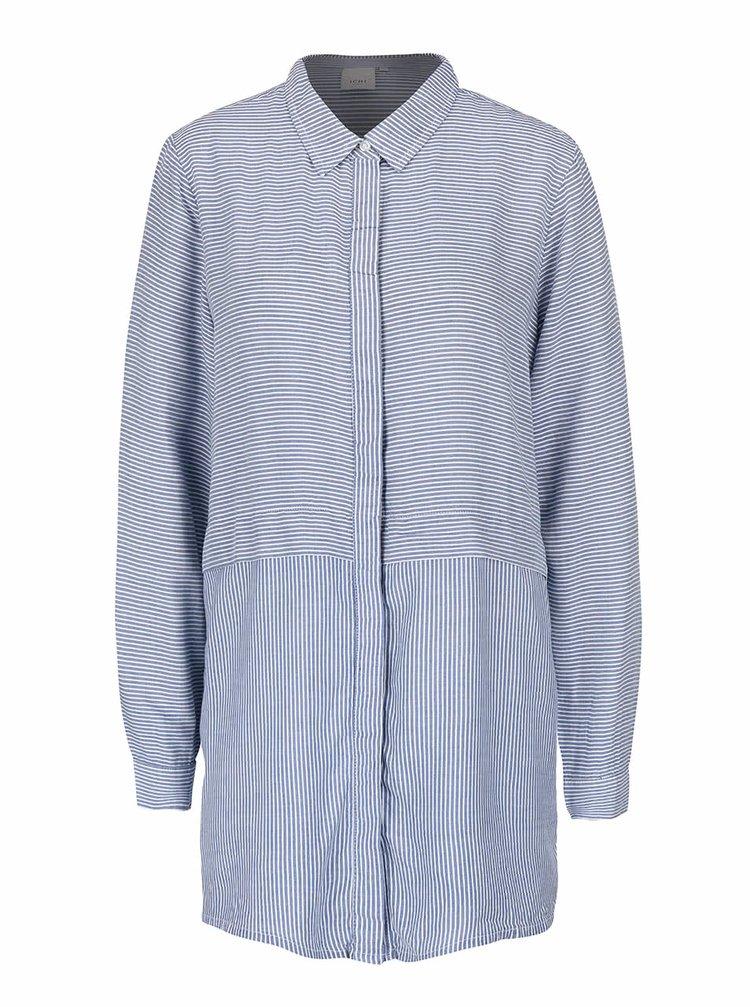 Modrá delší pruhovaná košile ICHI Ballin