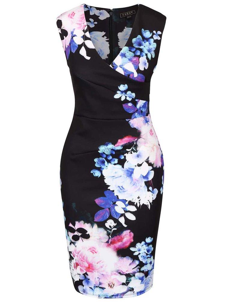 Černé květované šaty s překládaným výstřihem Lipsy
