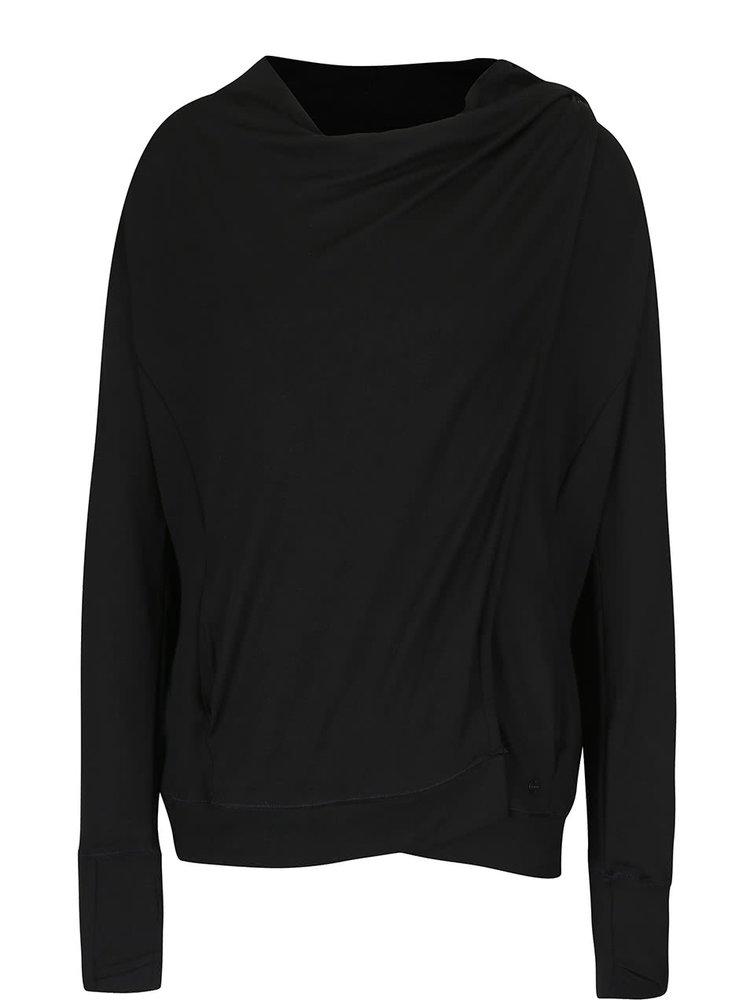 Bluză sport neagră Bench Undo cu croi suprapus și asimetric