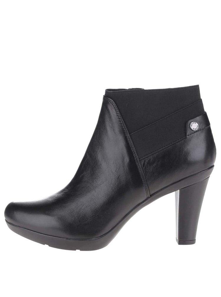 Černé dámské kožené boty na podpatku Geox Inspiration Stiv