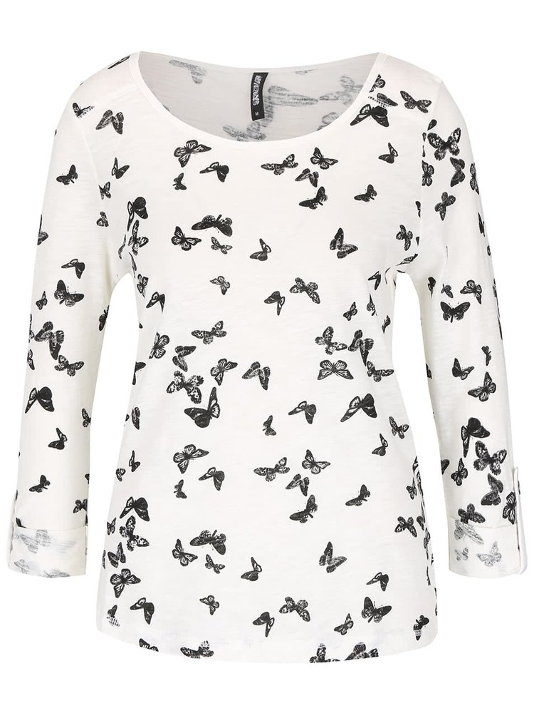 Krémové tričko s potlačou motýľov Haily's Cara