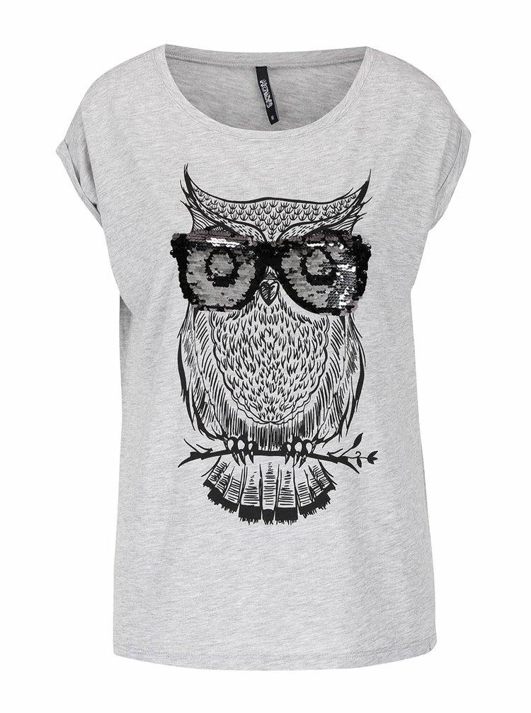 Šedé tričko s motivem sovy s flitry  Haily's Owl