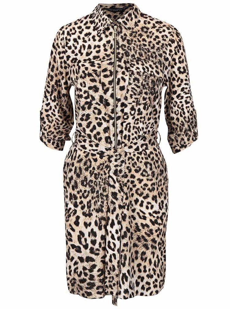 Čierno-hnedé šaty s leopardím vzorom Dorothy Perkins