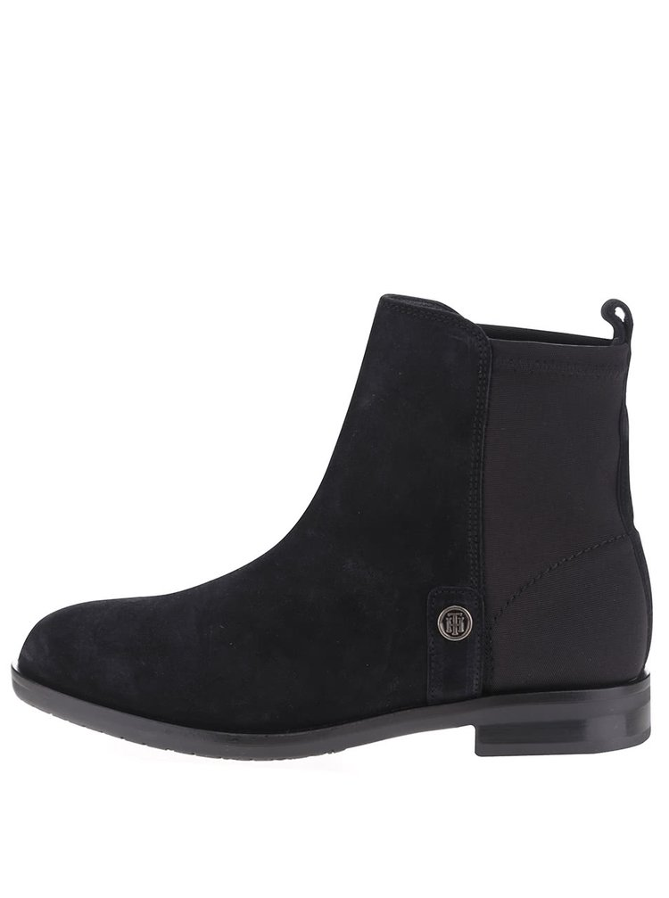 Černé dámské semišové chelsea boty Tommy Hilfiger