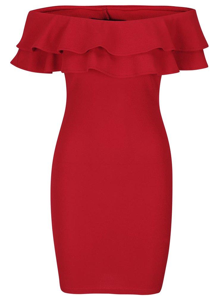 Rochie roșie AX Paris cu decolteu pe umeri