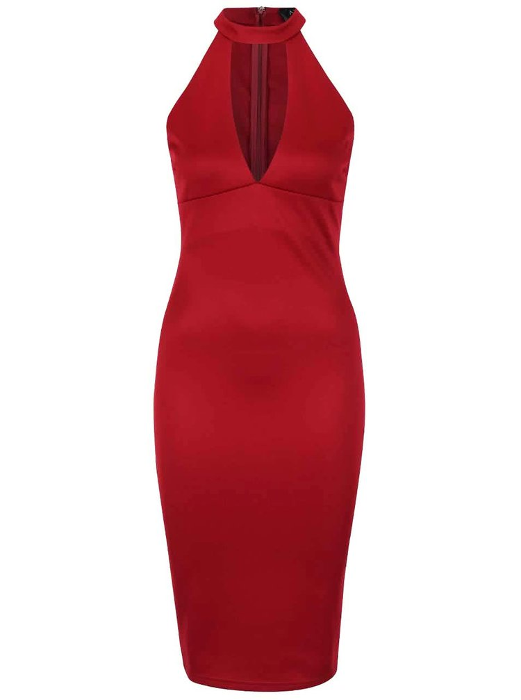 Vínové šaty s hlubokým výstřihem AX Paris