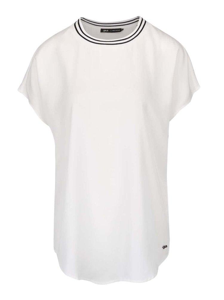 Biele voľnejšie tričko s čiernymi prúžkami okolo výstrihu gsus