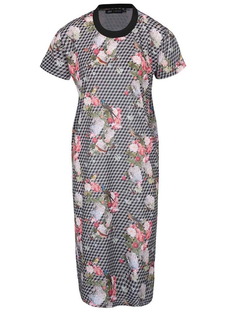 Sivé vzorované šaty s kvetovanou potlačou gsus