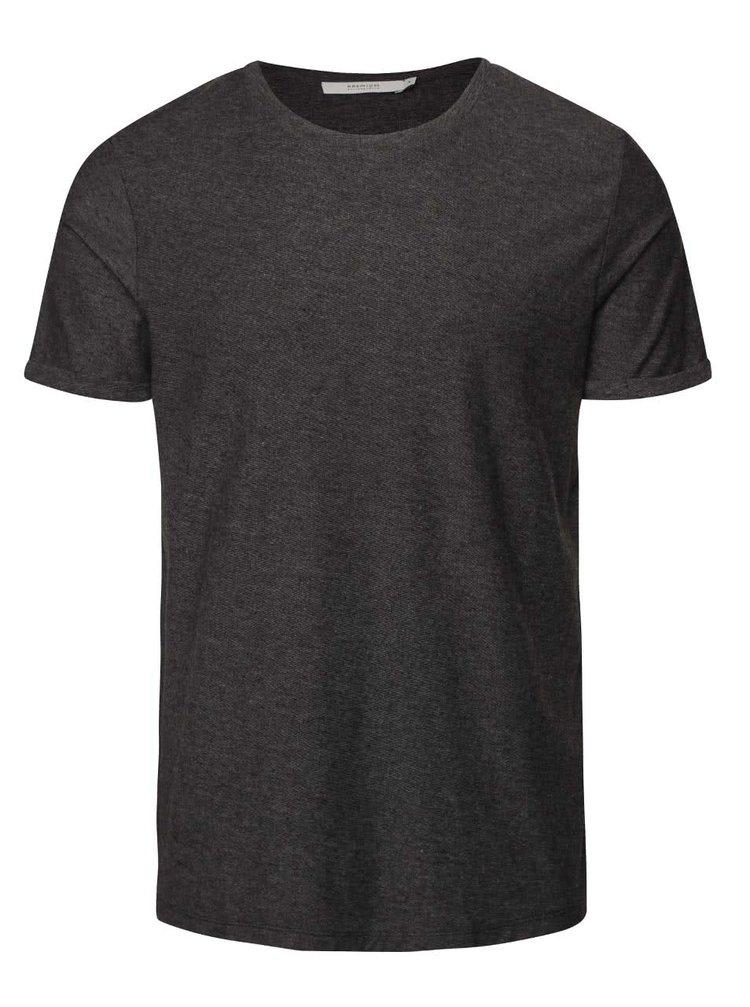 Tmavosivé melírované tričko s jemnou štruktúrou Jack & Jones Raw