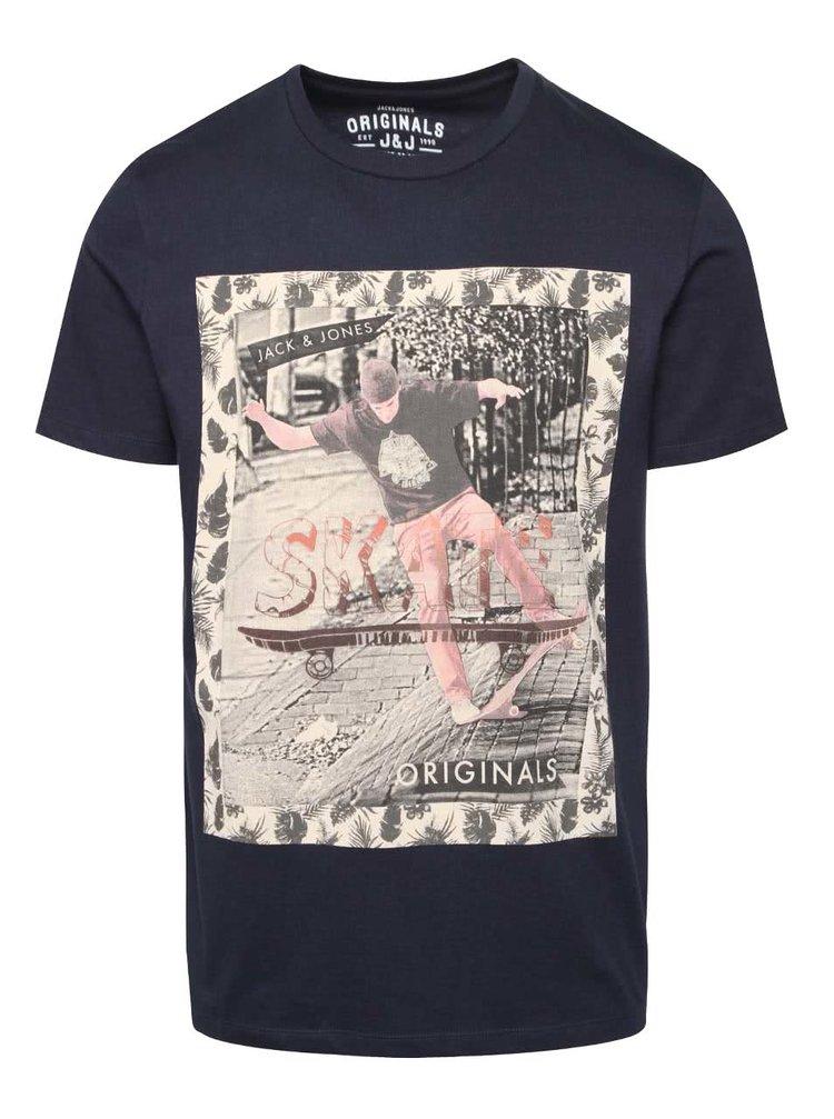 Tmavomodré tričko s potlačou Jack & Jones Scater