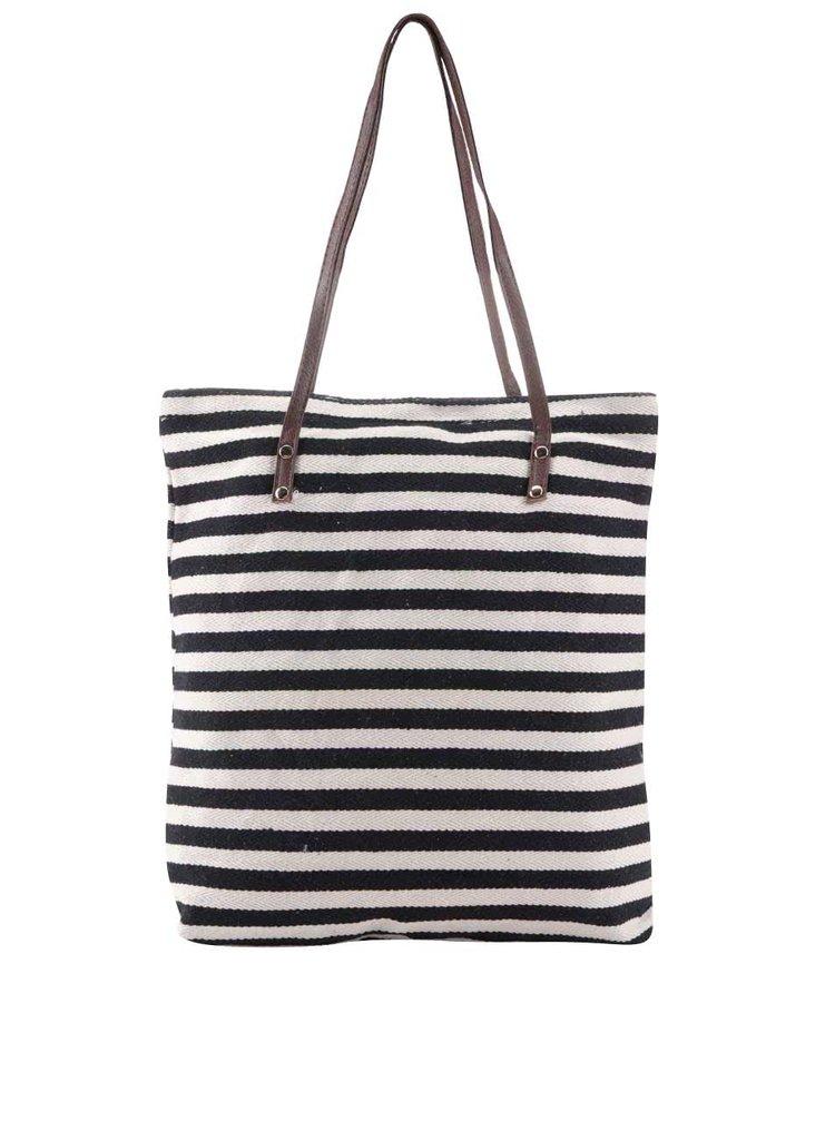 Krémovo-čierna pruhovaná taška Haily's Laura