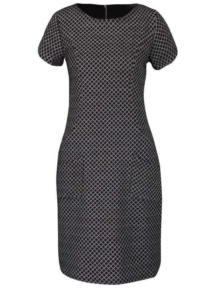 Bielo-čierne kockované šaty s vreckami Fever London Lori