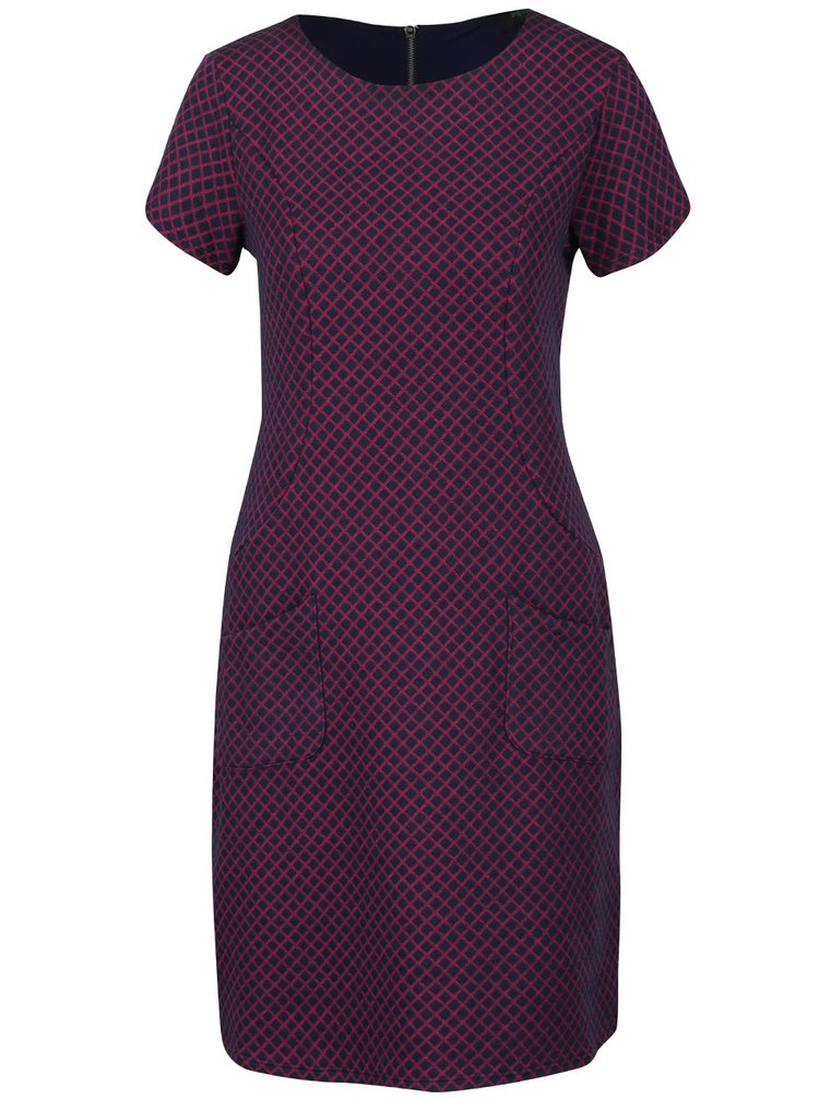 Růžovo-modré kostkované šaty s kapsami Fever London Lori