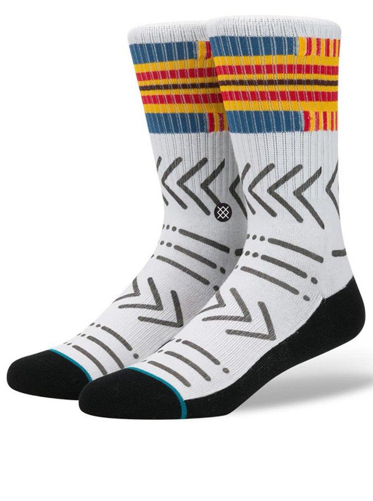 Čierno-biele pánske ponožky s farebnými vzormi Stance Petroglyph