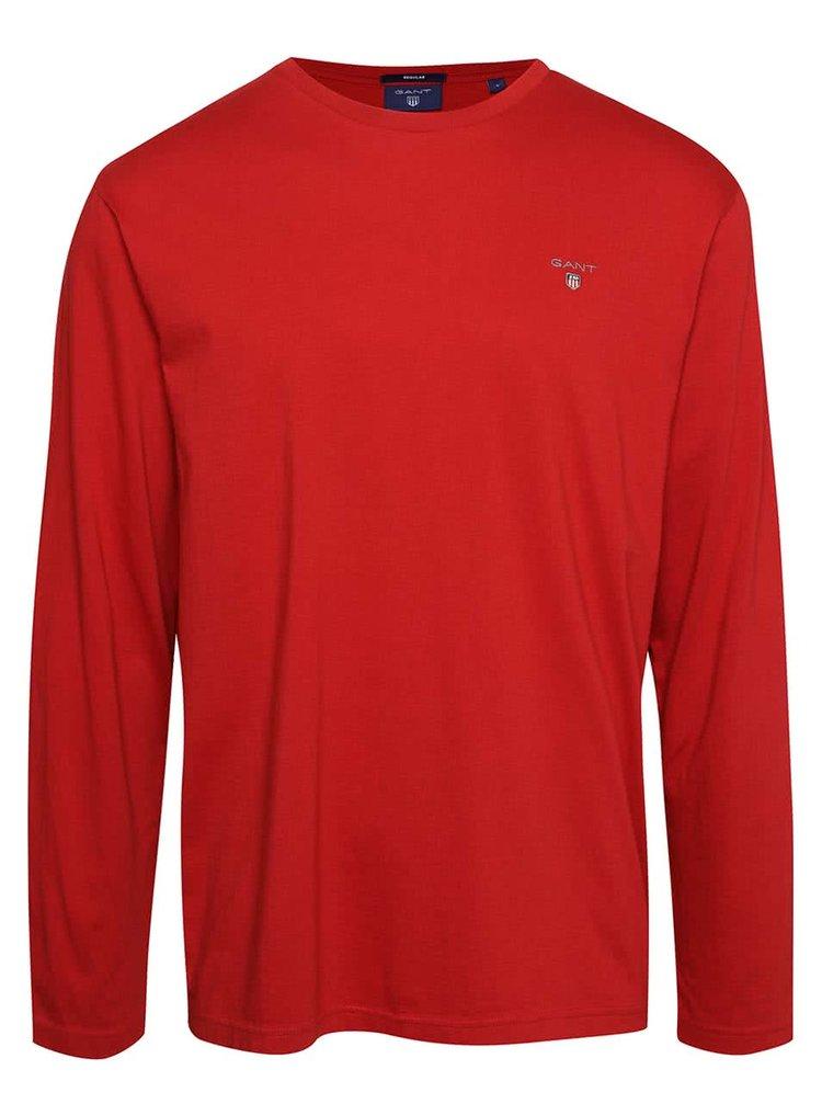 Červené pánske tričko s dlhým rukávom GANT