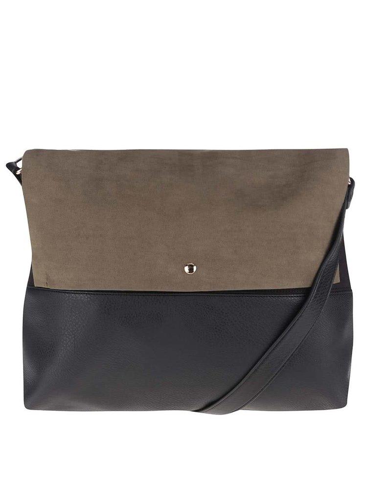 Zeleno-černá kabelka s klopou v semišové úpravě Dorothy Perkins