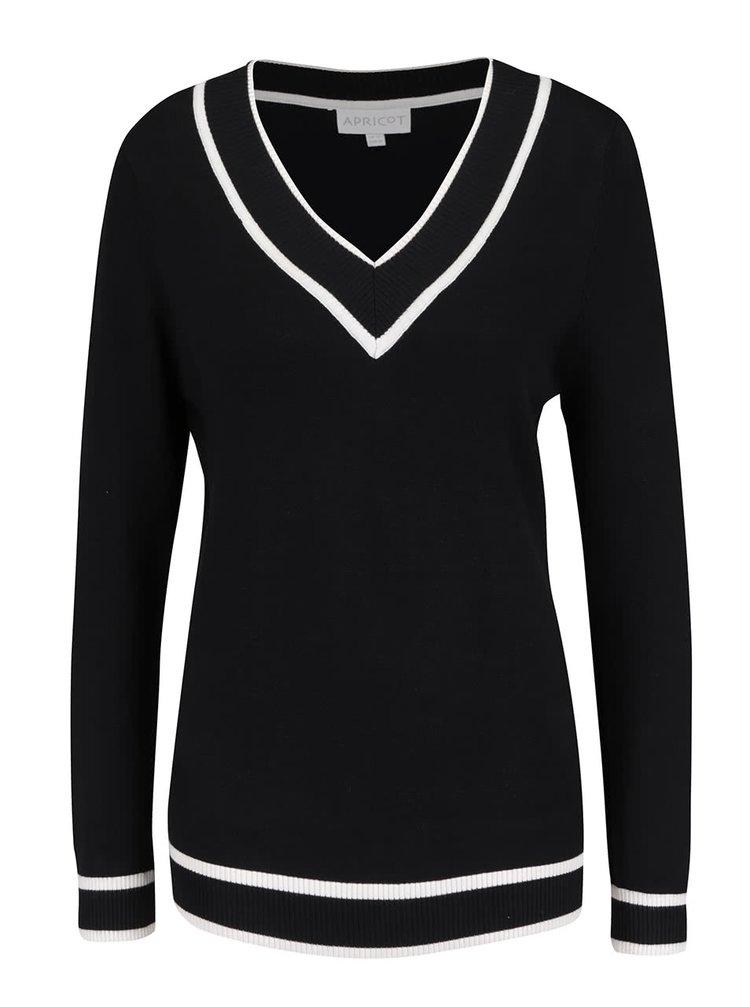 Černý svetr s véčkovým výstřihem Apricot