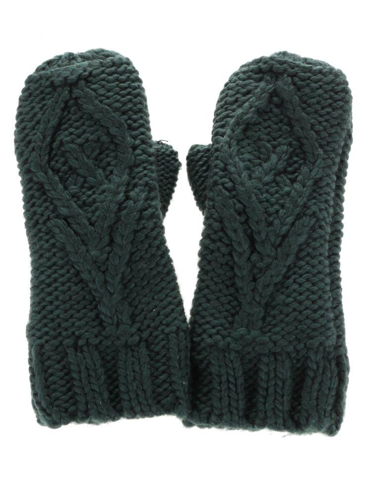 Zelené pletené rukavice Pieces Polka