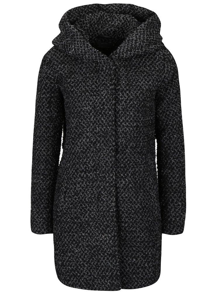 Čierno-sivý žíhaný kabát s kapucňou ONLY New Indie