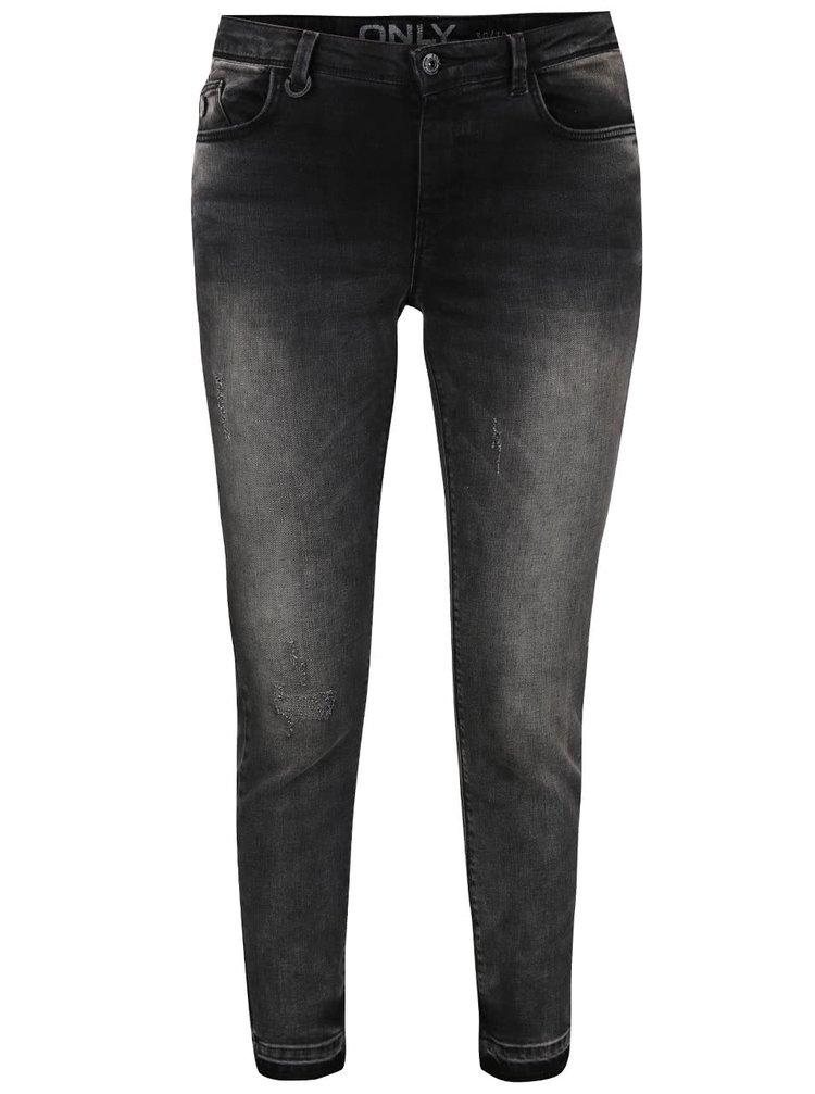 Šedé vyšisované skinny džíny ONLY Gia