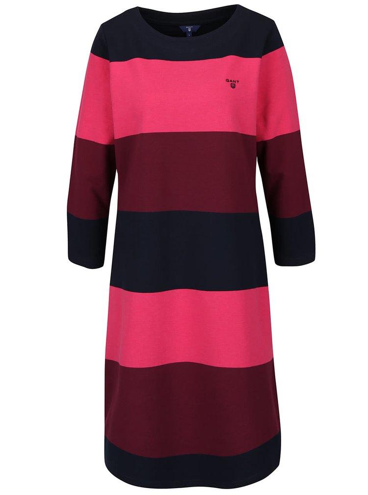 Modro-ružové pruhované šaty s 3/4 rukávmi GANT
