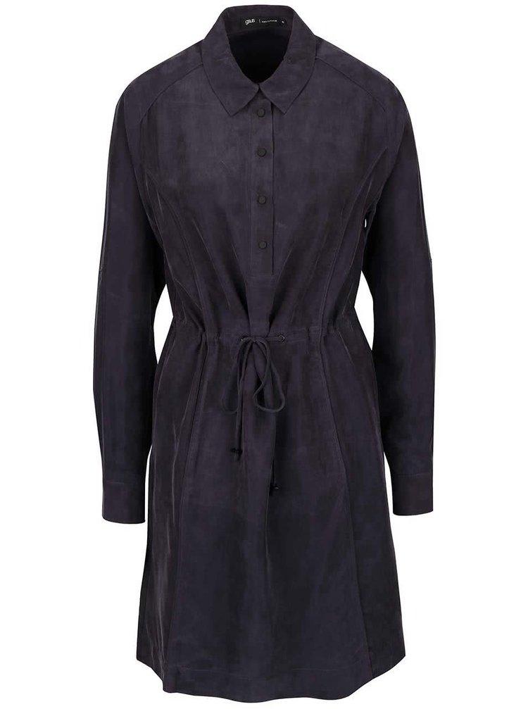 Rochie cămașă gri gsus cu mâneci lungi