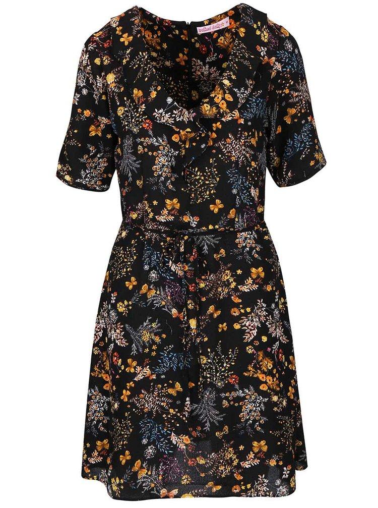 Černé květované šaty s volánkem Trollied Dolly Frill Tea
