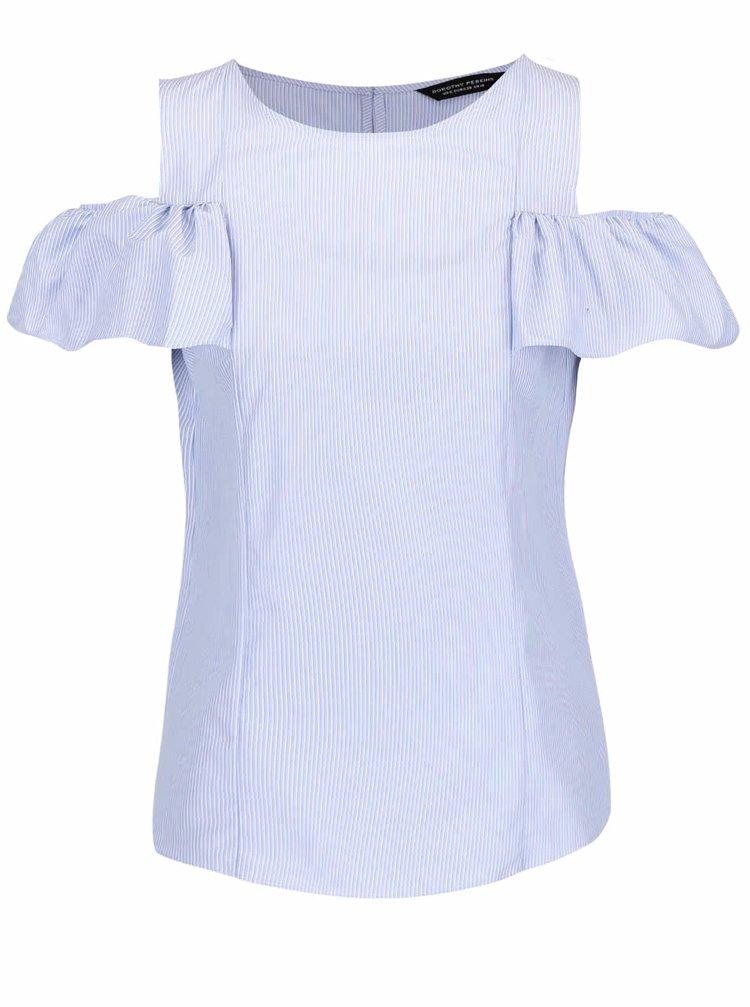 Světle modrá pruhovaná halenka s průstřihy na ramenou Dorothy Perkins