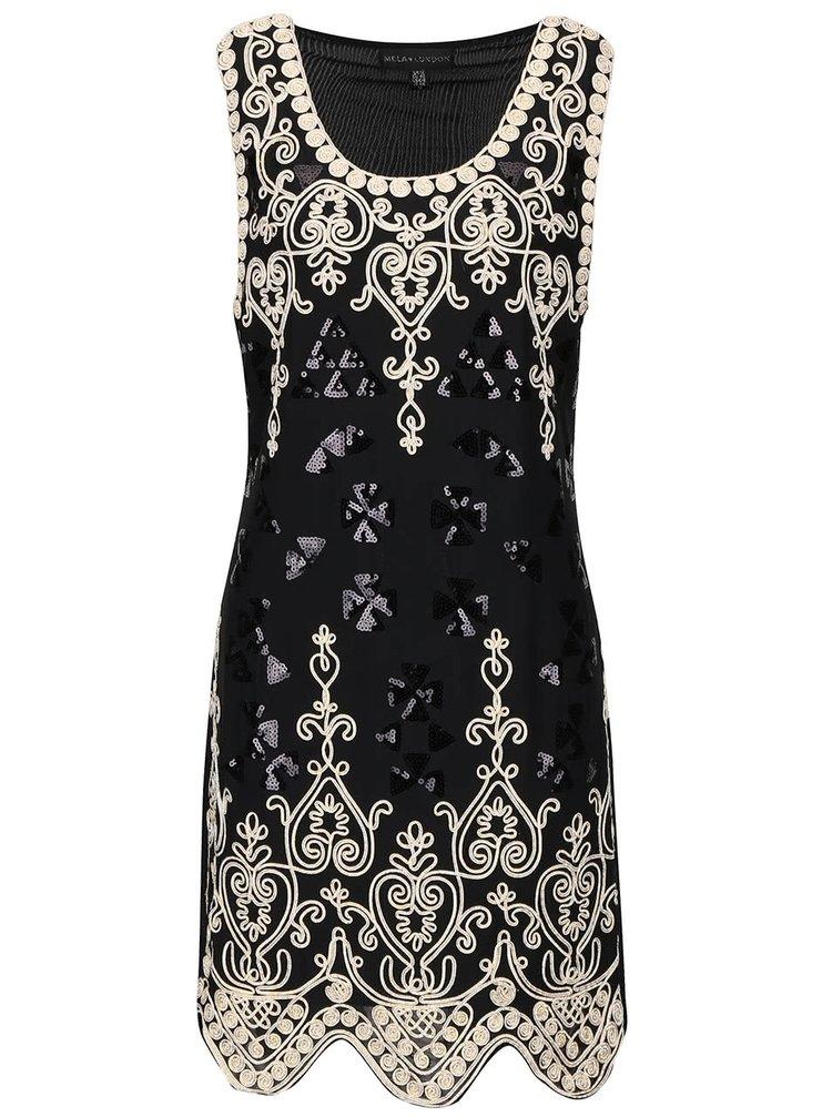 Černé šaty s flitry a vzorem ve zlaté barvě Mela London