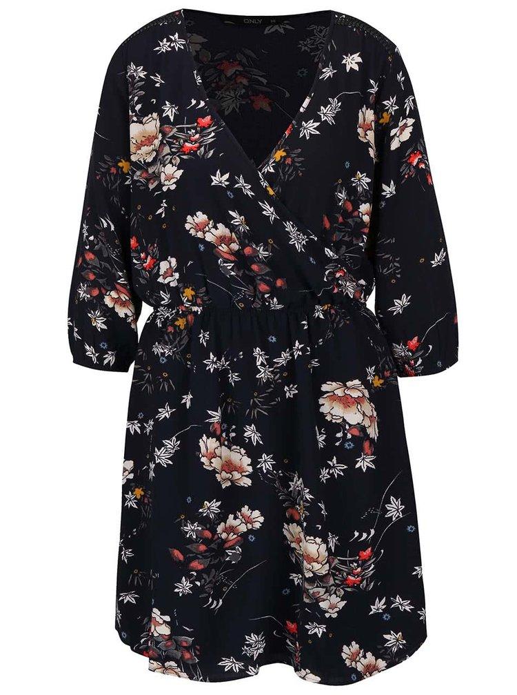 Tmavomodré kvetované šaty s prekladaným dekoltom ONLY Mallory