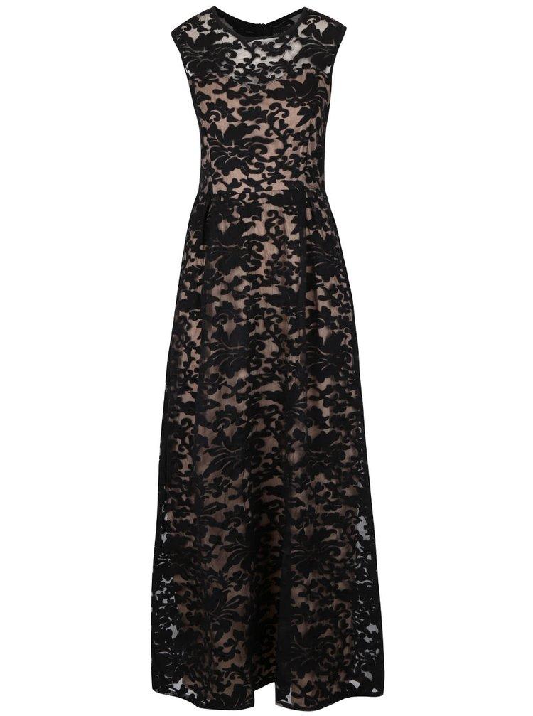 Krémovo-čierne dlhé vzorované šaty Mela London