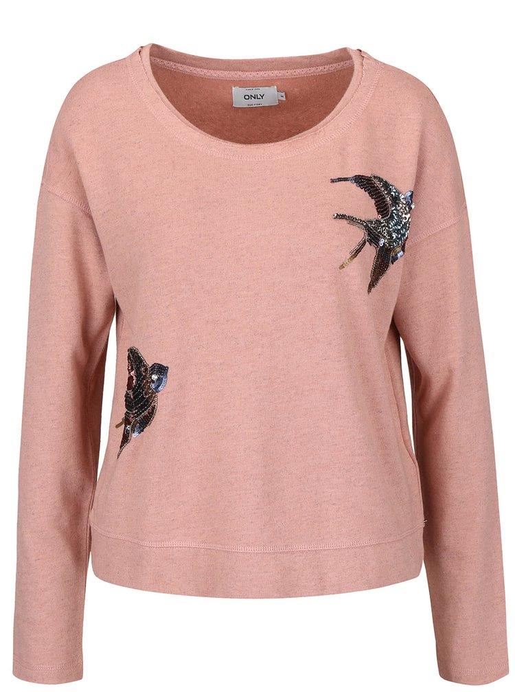 Bluză roz pal ONLY Bine cu aplicații