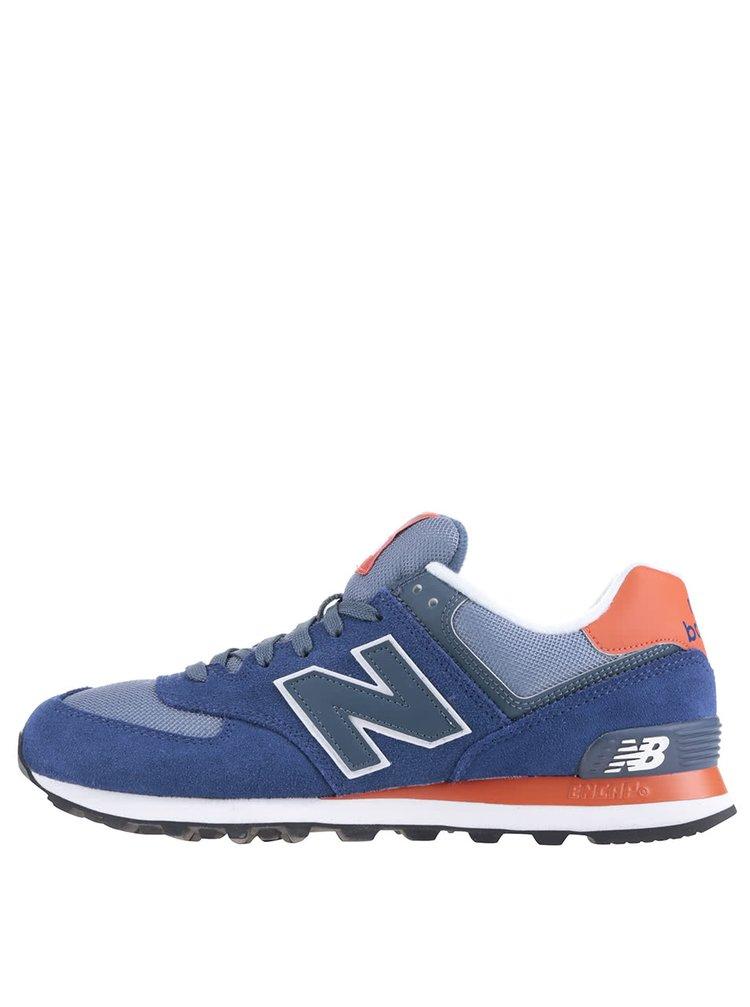 Šedo-modré pánské semišové tenisky New Balance