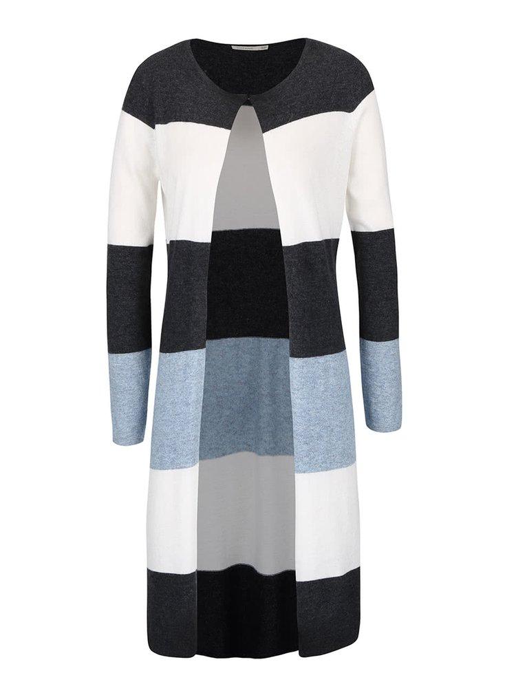 Modro-šedý pruhovaný dlouhý cardigan Lavand
