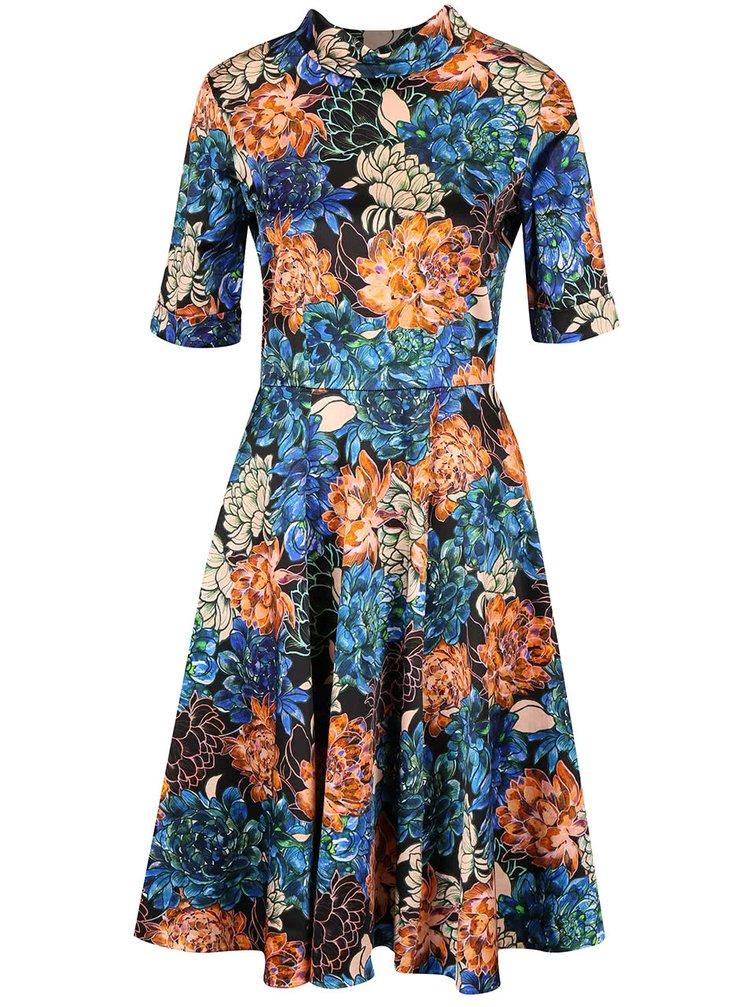 Oranžovo-modré kvetinové šaty so stojatým golierom Closet