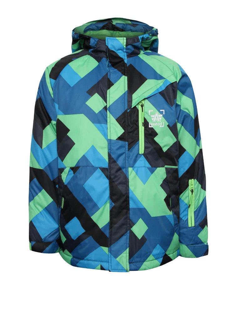 Zeleno-modrá vzorovaná chlapčenská zimná bunda s kapucňou 5.10.15.