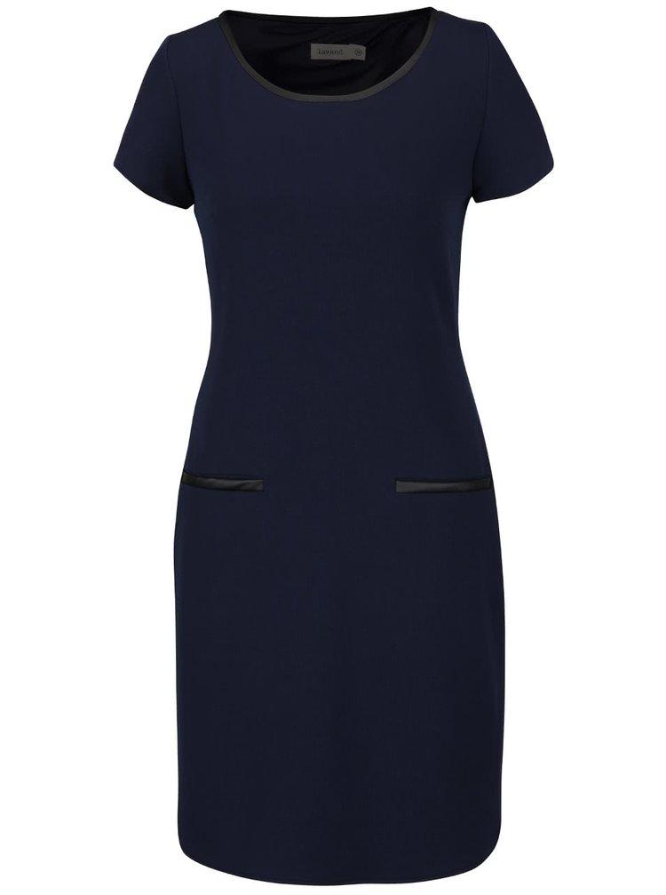 Tmavomodré šaty s koženkovými detailmi Lavand