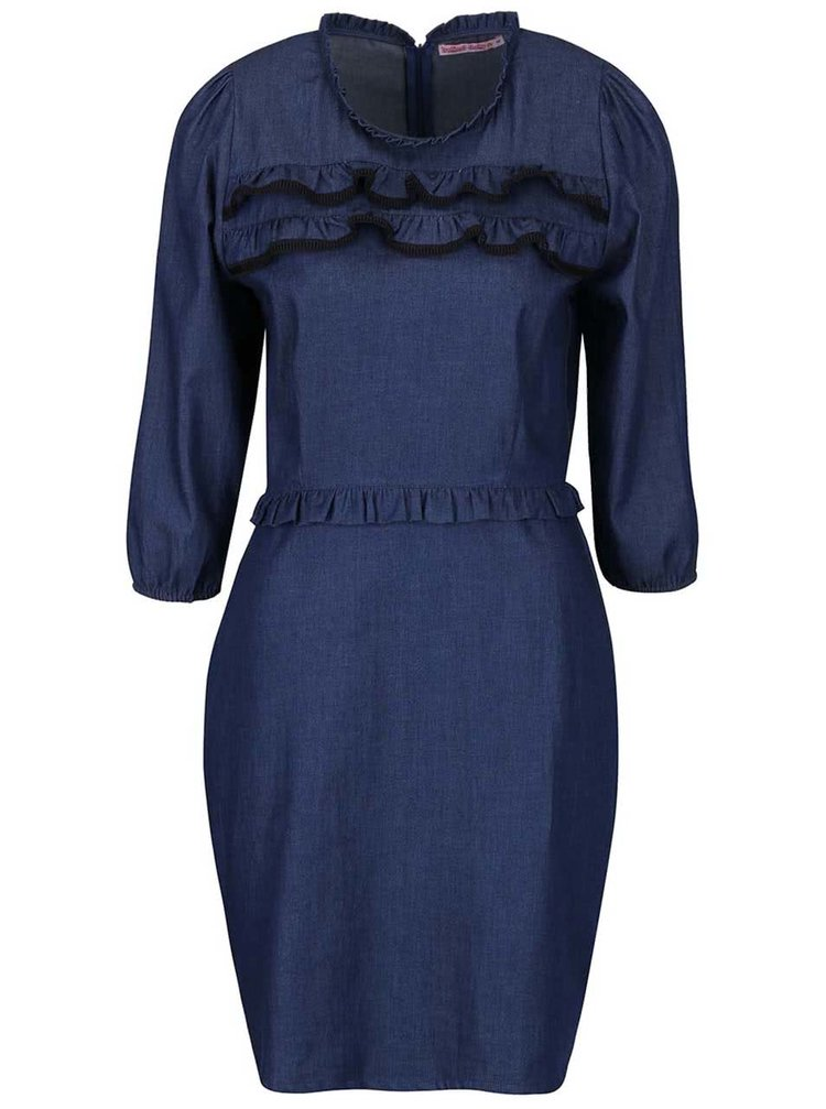 Modré džínové šaty s volánky Trollied Dolly Frilly