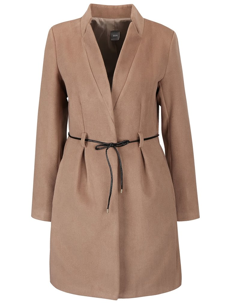 Béžový kabát s tenkým páskem ZOOT Simple