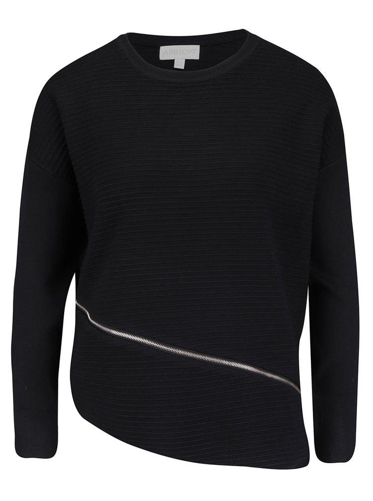 Čierny sveter s dlhým rukávom Apricot